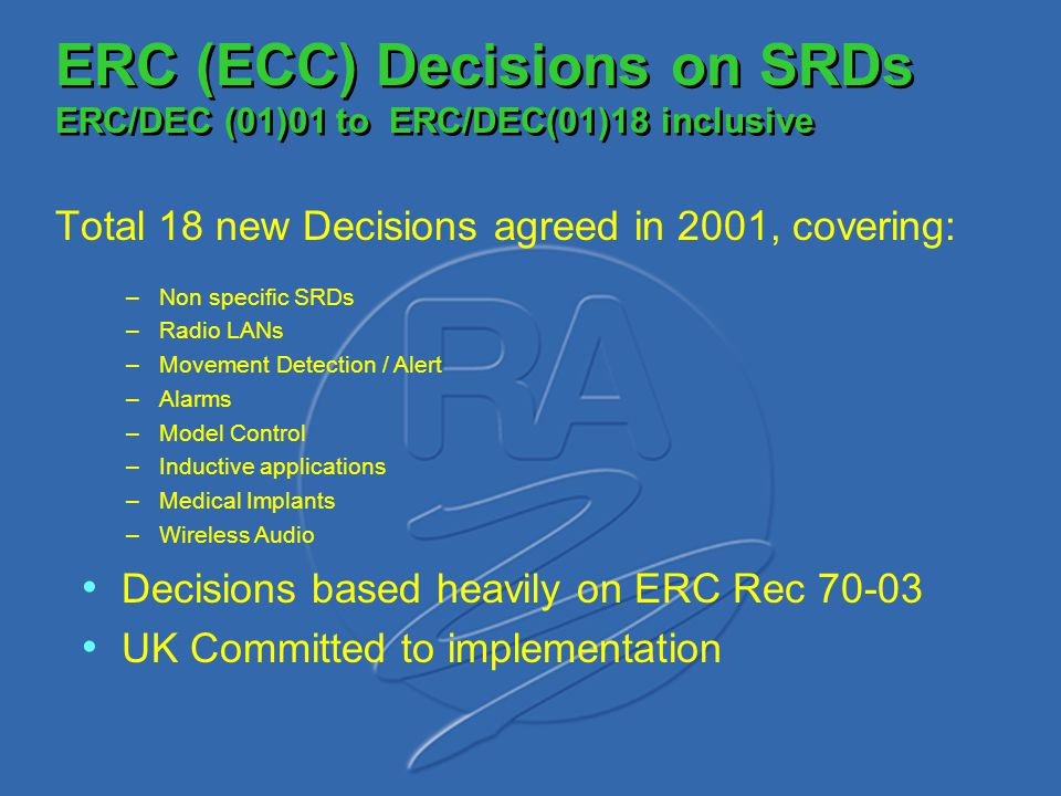 ERC (ECC) Decisions on SRDs ERC/DEC (01)01 to ERC/DEC(01)18 inclusive