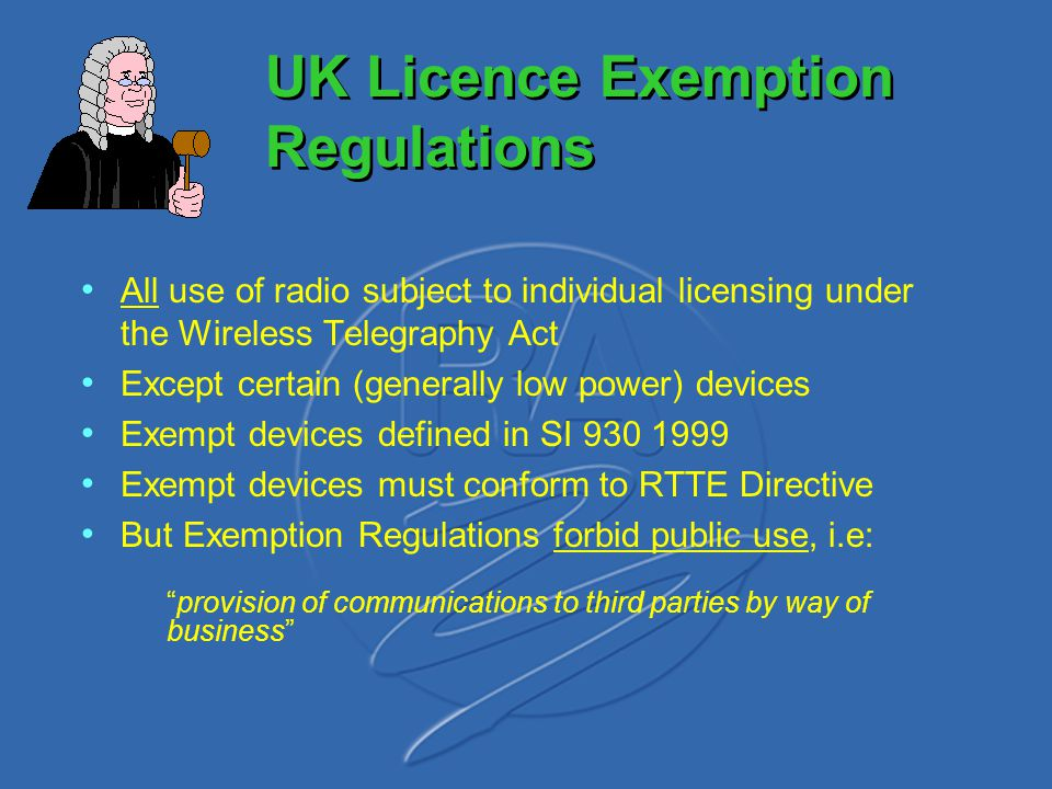UK Licence Exemption Regulations