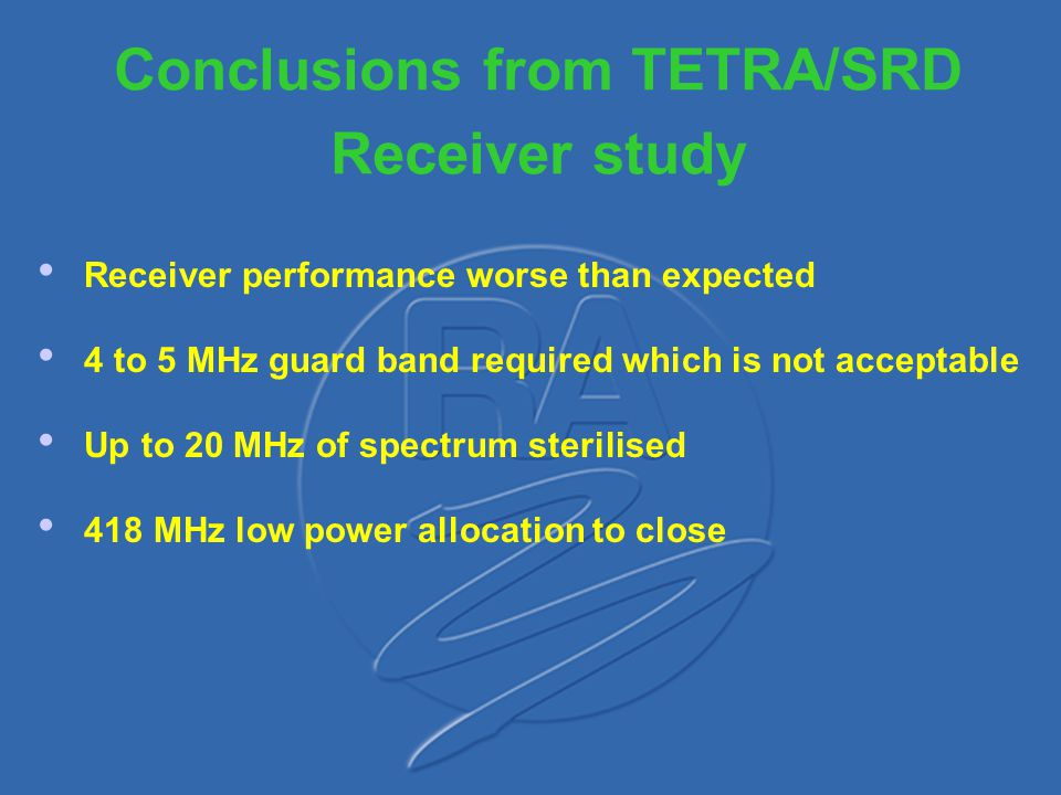 Conclusions from TETRA/SRD Receiver study