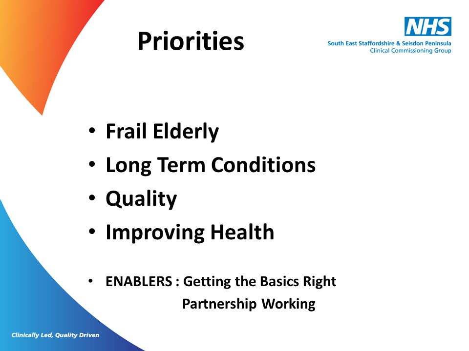Priorities Frail Elderly Long Term Conditions Quality Improving Health