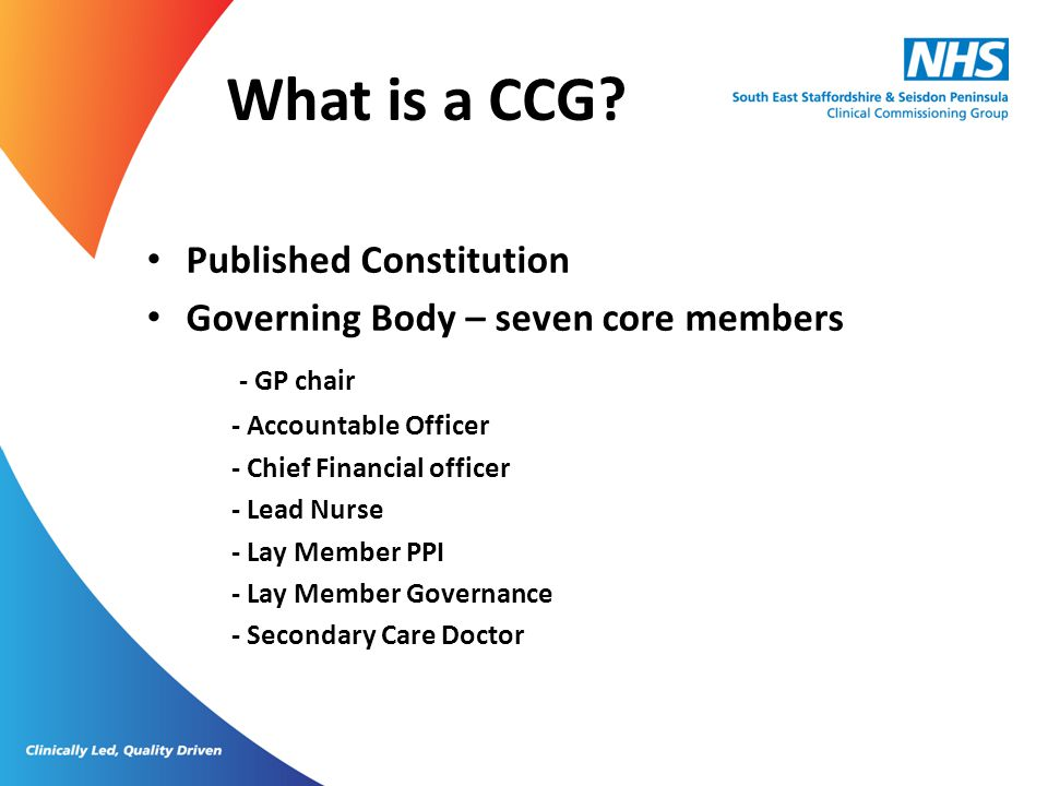 What is a CCG Published Constitution