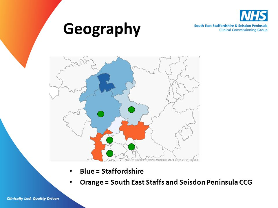 Geography Blue = Staffordshire