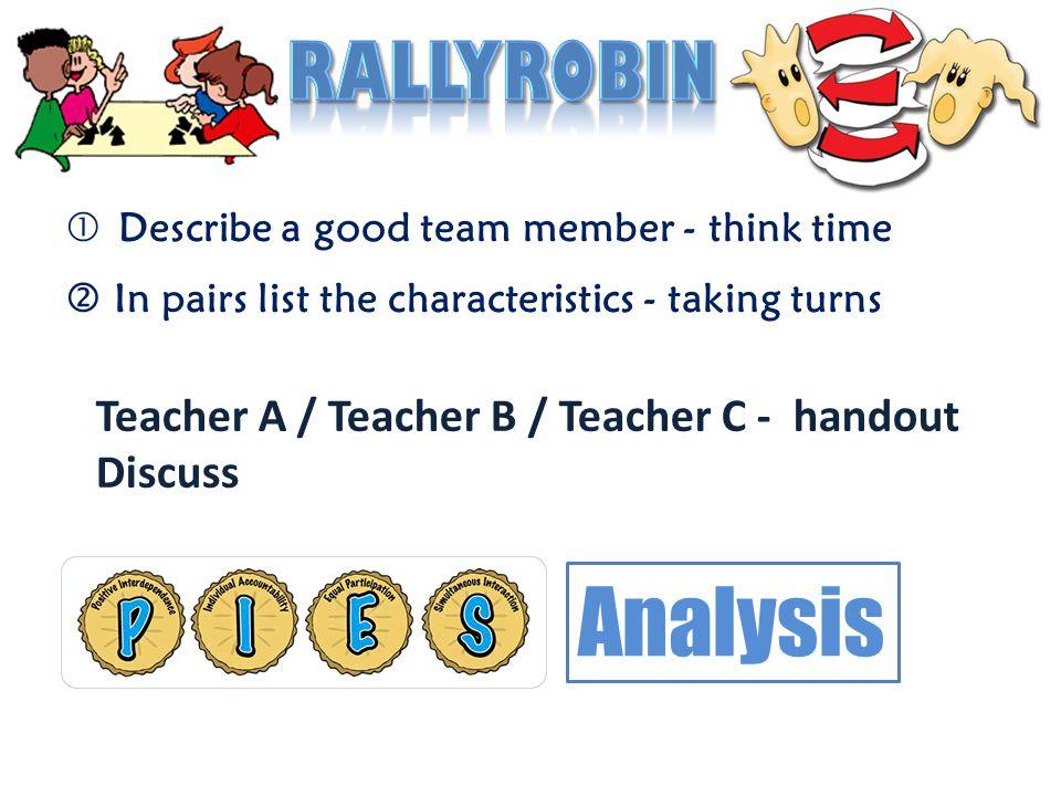 Analysis RallyRobin Teacher A / Teacher B / Teacher C - handout
