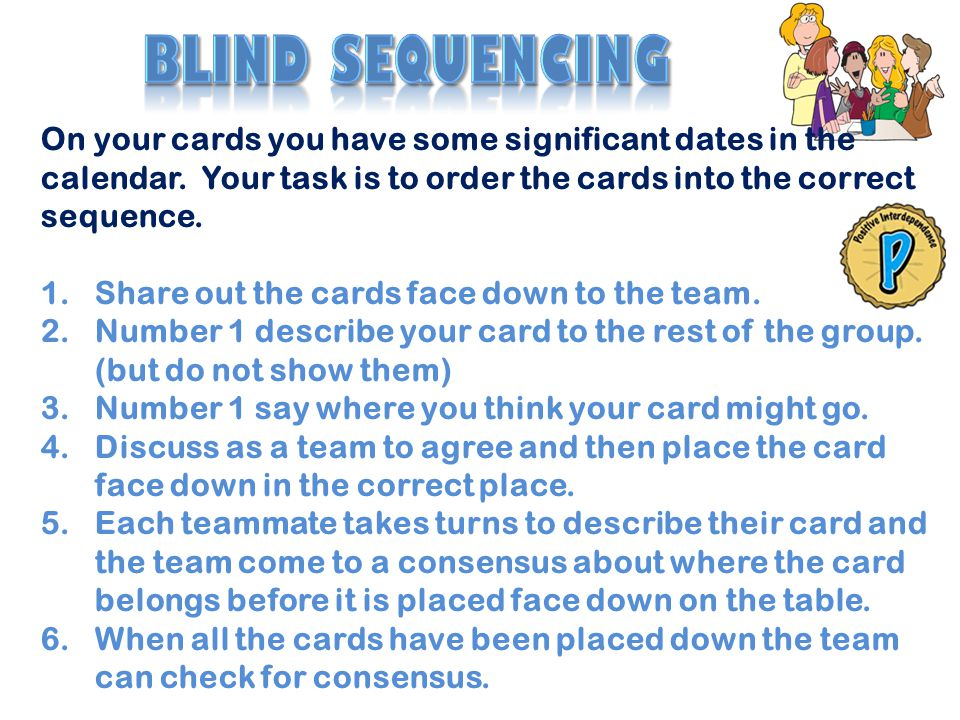 Blind sequencing On your cards you have some significant dates in the calendar. Your task is to order the cards into the correct sequence.