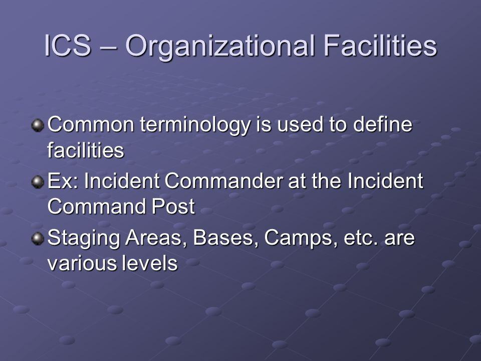 ICS – Organizational Facilities