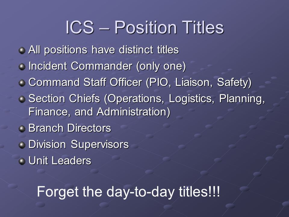 ICS – Position Titles Forget the day-to-day titles!!!