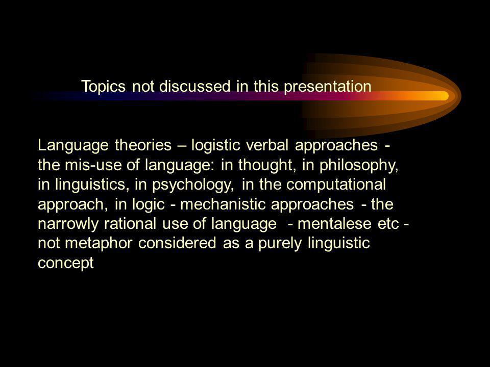 Topics not discussed in this presentation