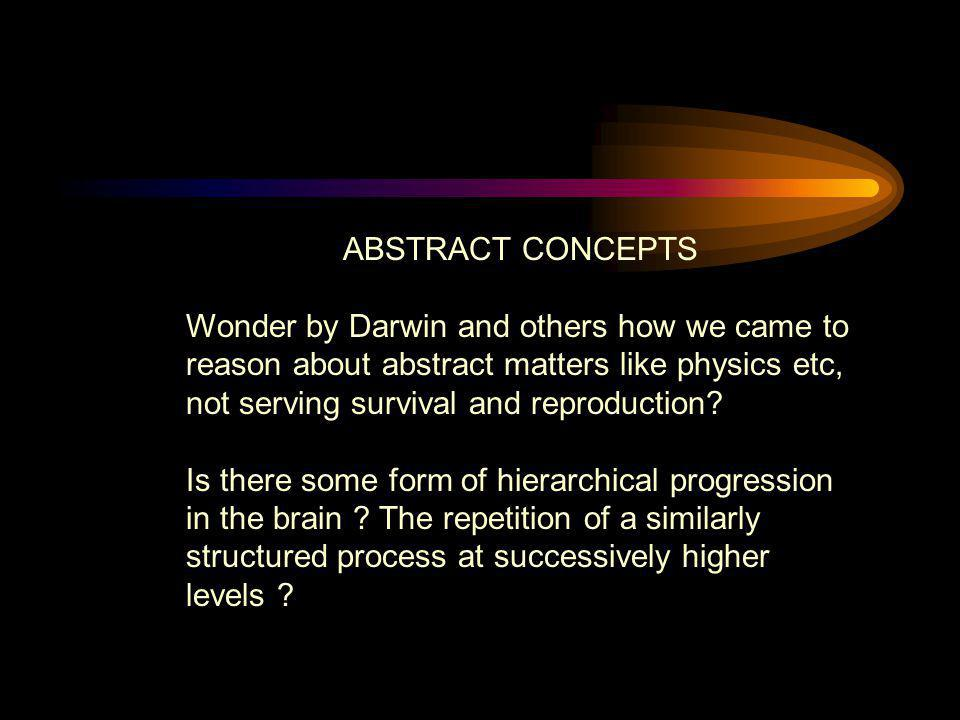 ABSTRACT CONCEPTS Wonder by Darwin and others how we came to reason about abstract matters like physics etc, not serving survival and reproduction