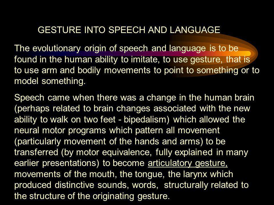 GESTURE INTO SPEECH AND LANGUAGE