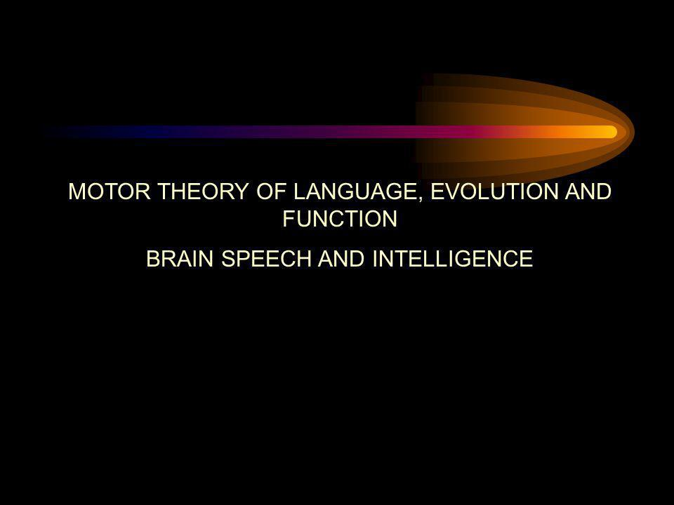 MOTOR THEORY OF LANGUAGE, EVOLUTION AND FUNCTION