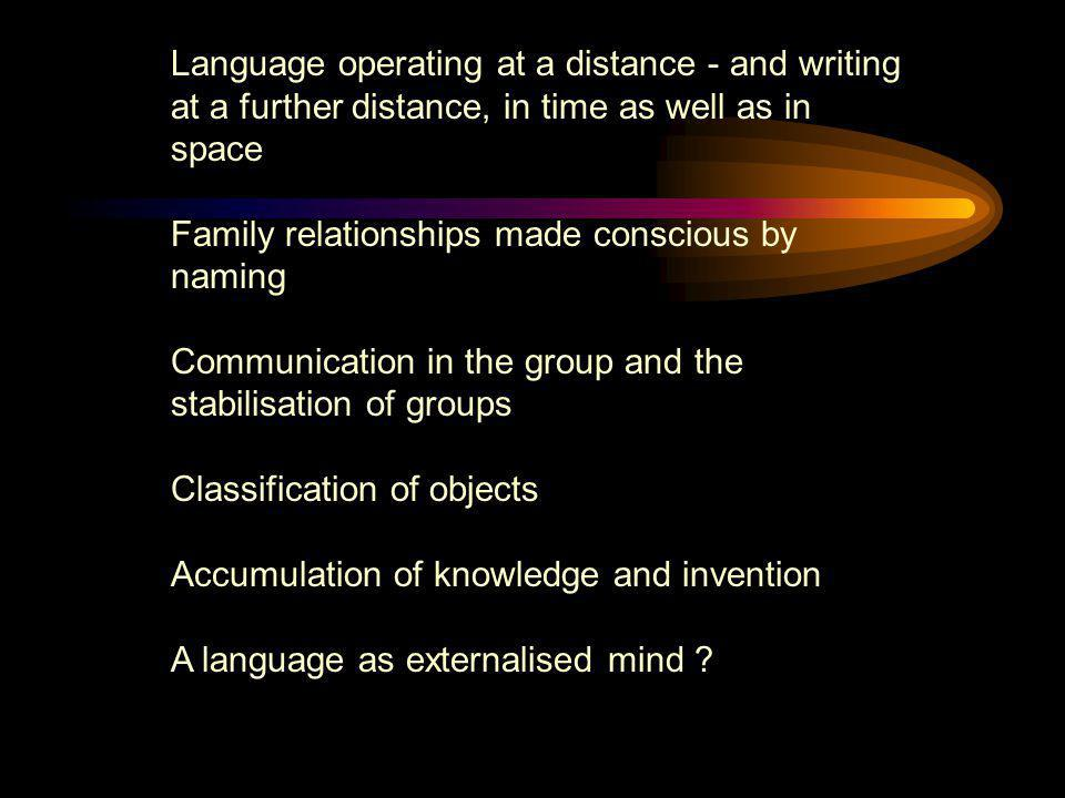 Language operating at a distance - and writing at a further distance, in time as well as in space