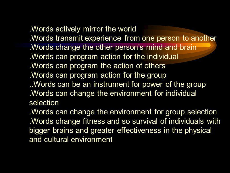 .Words actively mirror the world