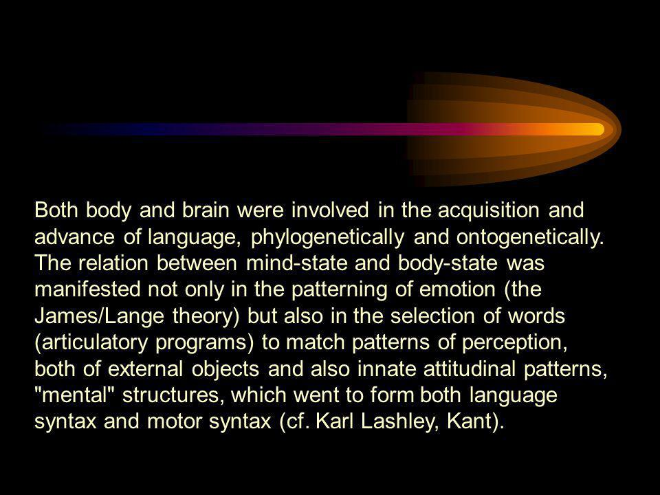 Both body and brain were involved in the acquisition and advance of language, phylogenetically and ontogenetically.