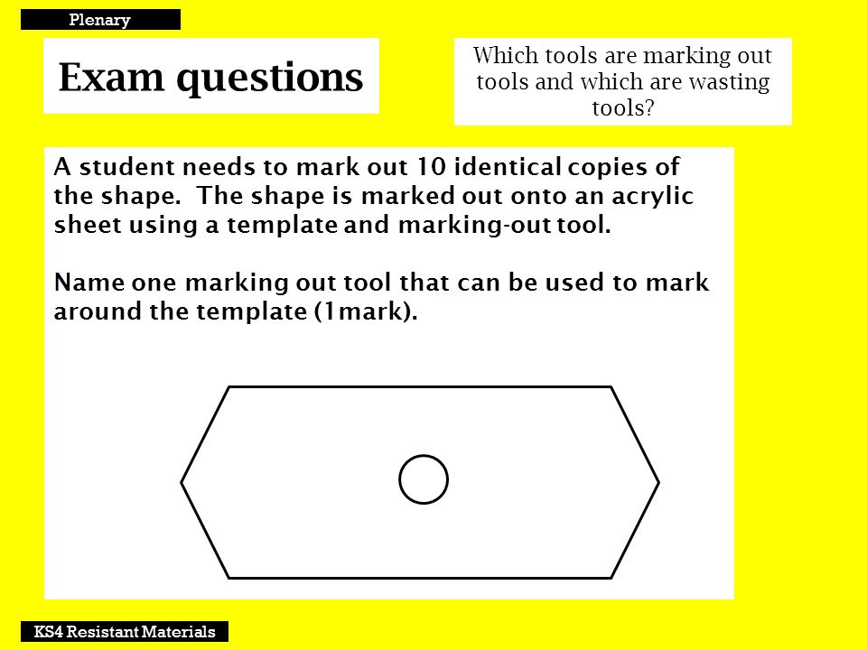 Plenary Exam questions. Which tools are marking out tools and which are wasting tools