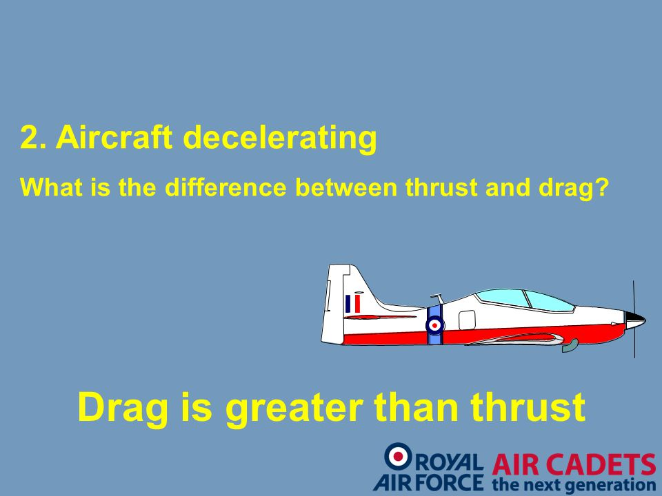Drag is greater than thrust