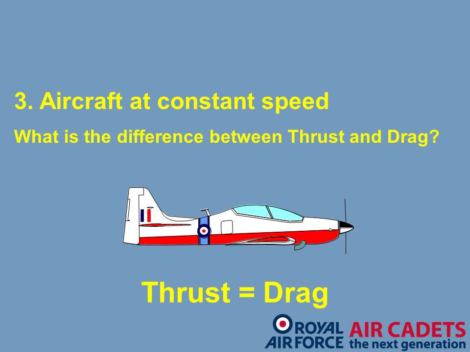 Thrust = Drag 3. Aircraft at constant speed