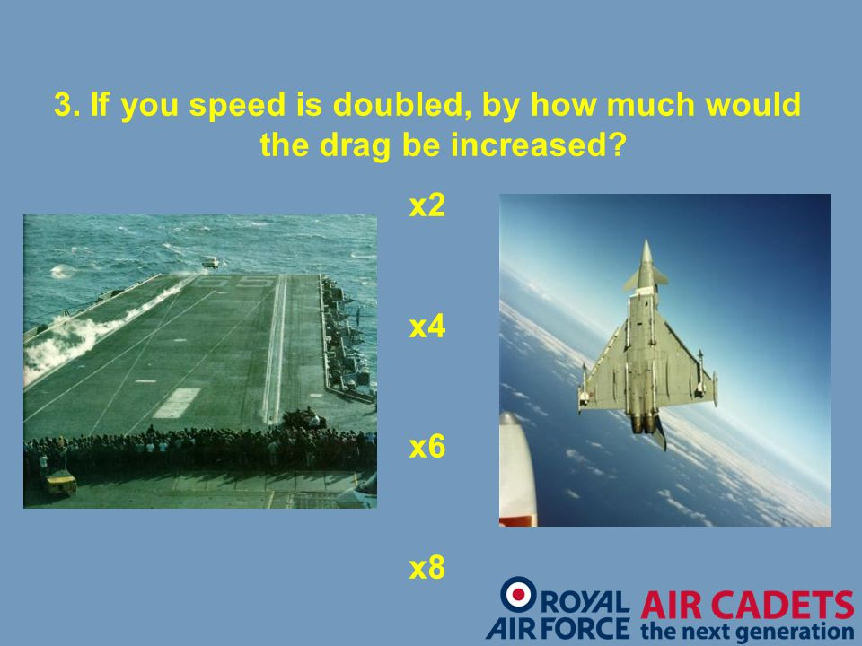 3. If you speed is doubled, by how much would the drag be increased