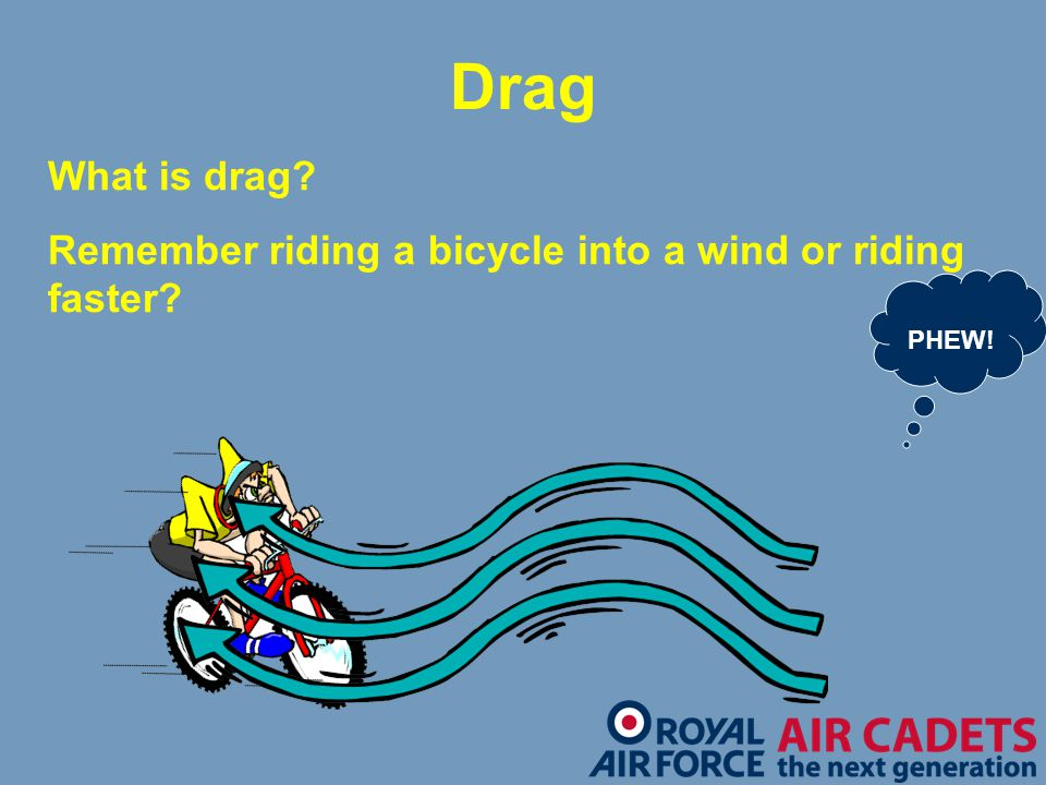 Drag What is drag Remember riding a bicycle into a wind or riding faster PHEW! Drag.