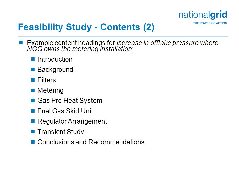 Feasibility Study - Contents (2)