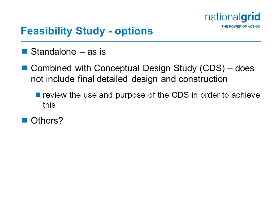 Feasibility Study - options
