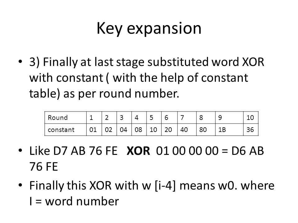 Key expansion3) Finally at last stage substituted word XOR with constant ( with the help of constant table) as per round number.