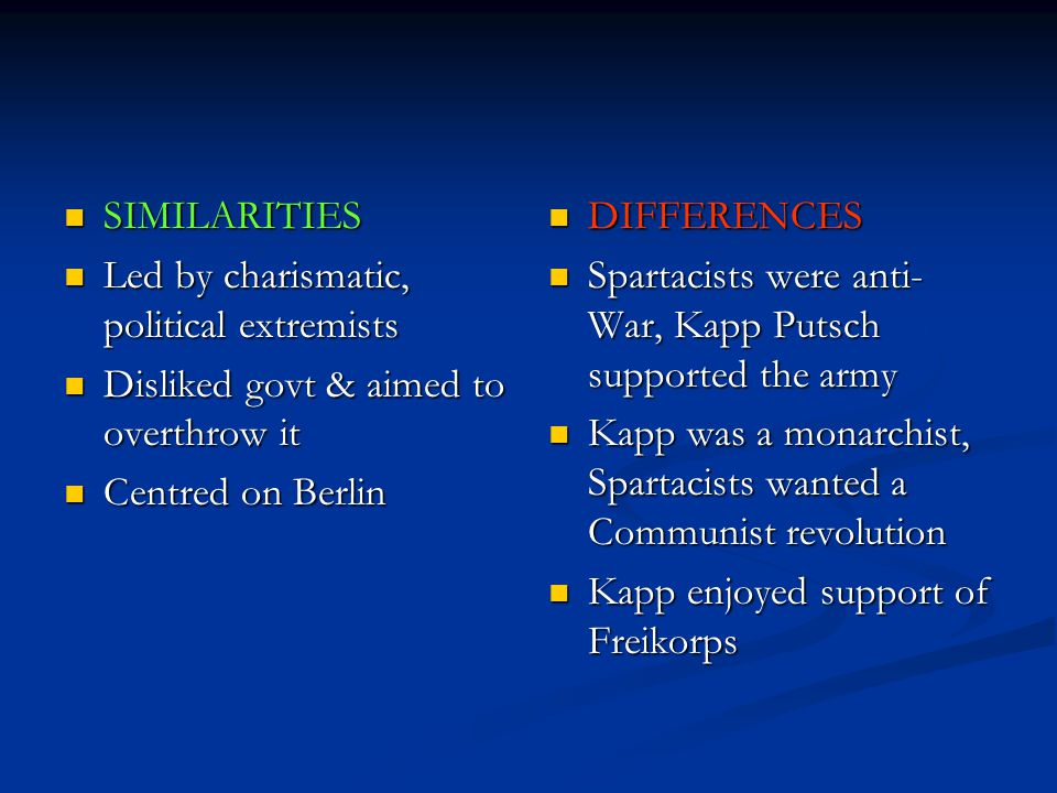 SIMILARITIES Led by charismatic, political extremists. Disliked govt & aimed to overthrow it. Centred on Berlin.