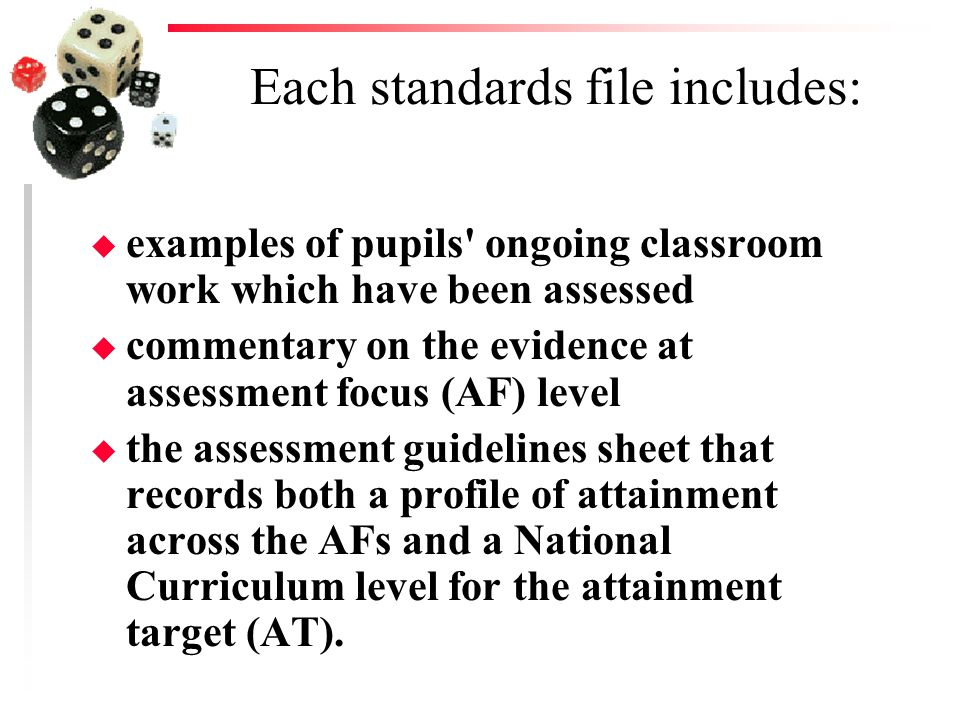 Each standards file includes: