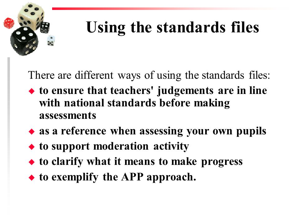 Using the standards files