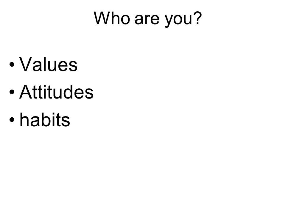 Who are you Values Attitudes habits