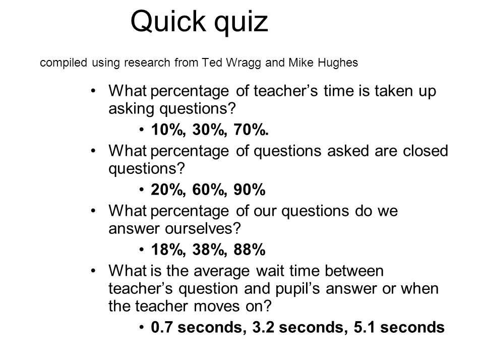 Quick quiz compiled using research from Ted Wragg and Mike Hughes