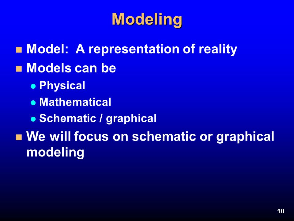 Modeling Model: A representation of reality Models can be