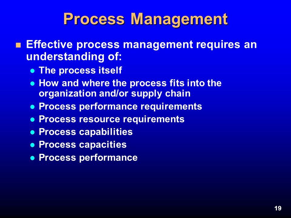 Process Management Effective process management requires an understanding of: The process itself.