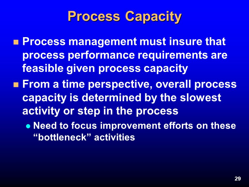 Process Capacity Process management must insure that process performance requirements are feasible given process capacity.