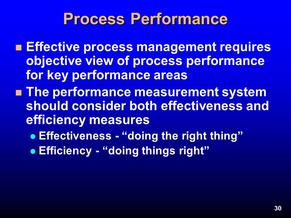 Process Performance Effective process management requires objective view of process performance for key performance areas.