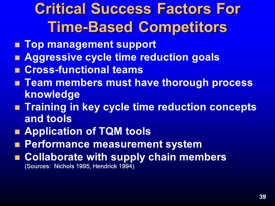 Critical Success Factors For Time-Based Competitors