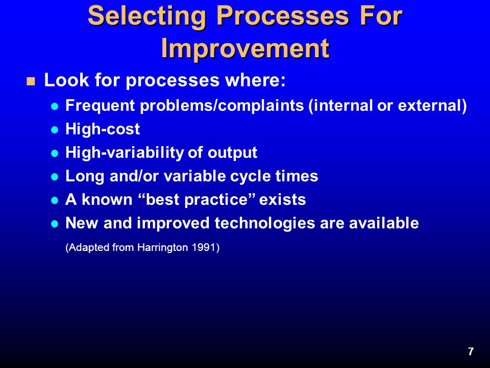 Selecting Processes For Improvement