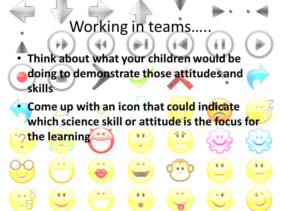 Working in teams….. Think about what your children would be doing to demonstrate those attitudes and skills.