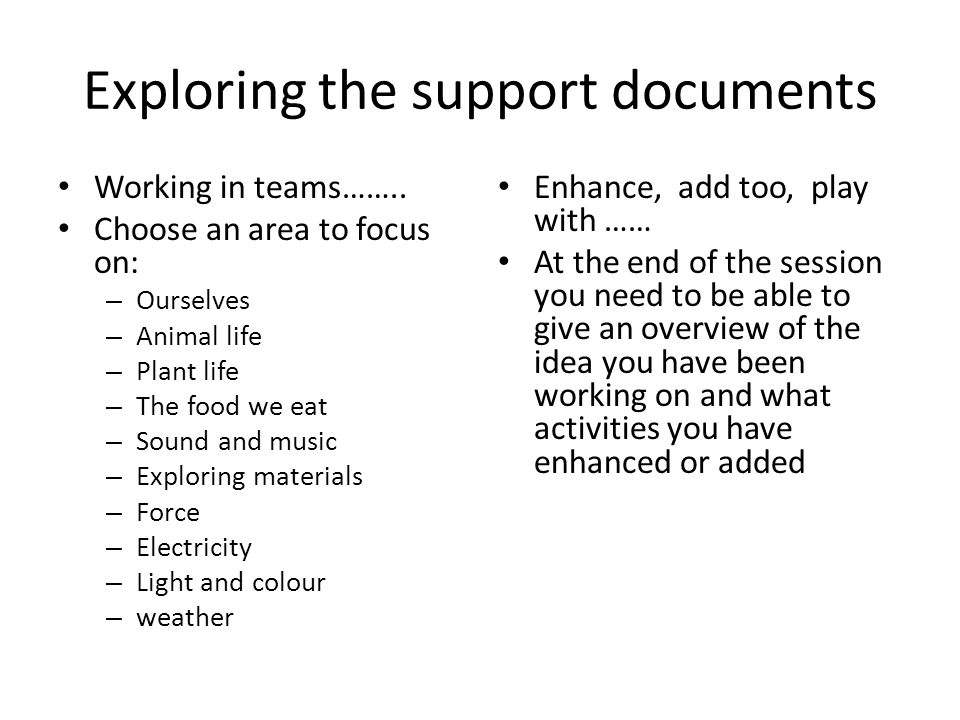 Exploring the support documents
