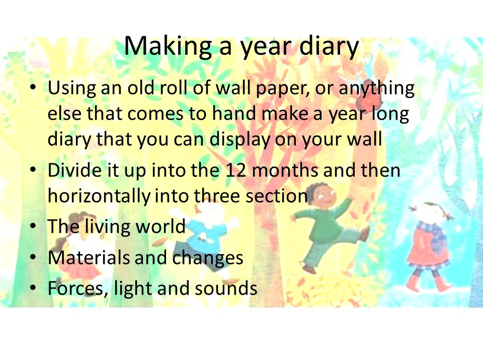 Making a year diary Using an old roll of wall paper, or anything else that comes to hand make a year long diary that you can display on your wall.