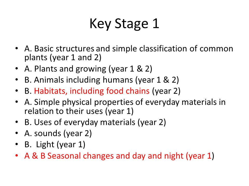 Key Stage 1 A. Basic structures and simple classification of common plants (year 1 and 2) A. Plants and growing (year 1 & 2)