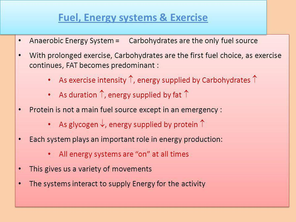 Fuel, Energy systems & Exercise