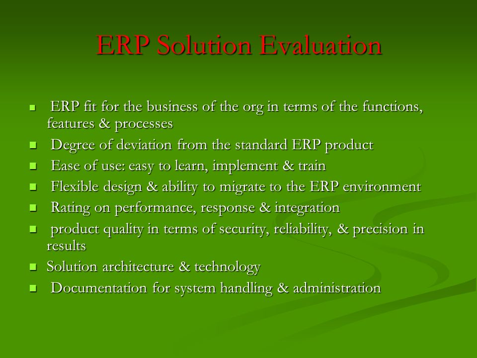 ERP Solution Evaluation