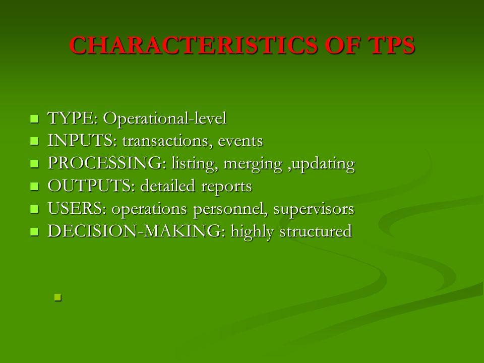CHARACTERISTICS OF TPS