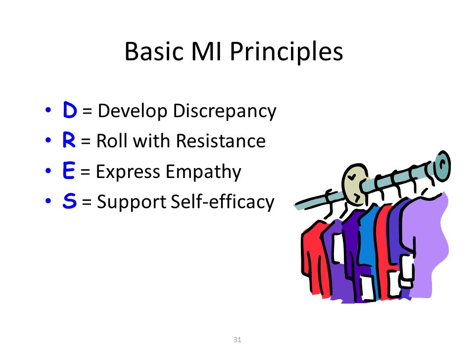 Basic MI Principles D = Develop Discrepancy R = Roll with Resistance
