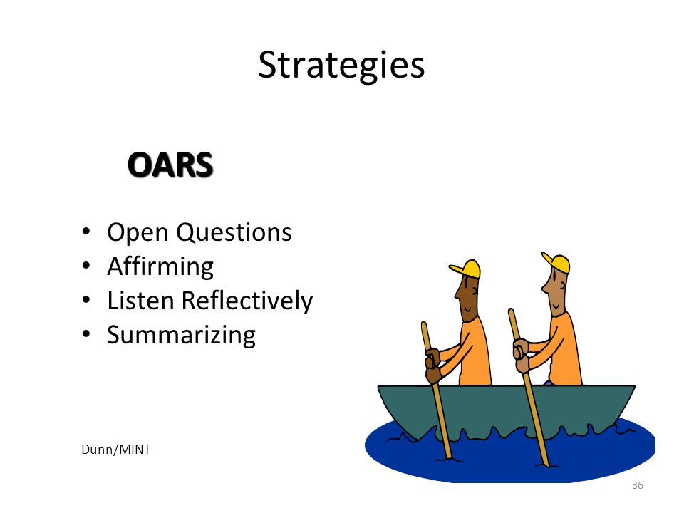 Strategies OARS Open Questions Affirming Listen Reflectively
