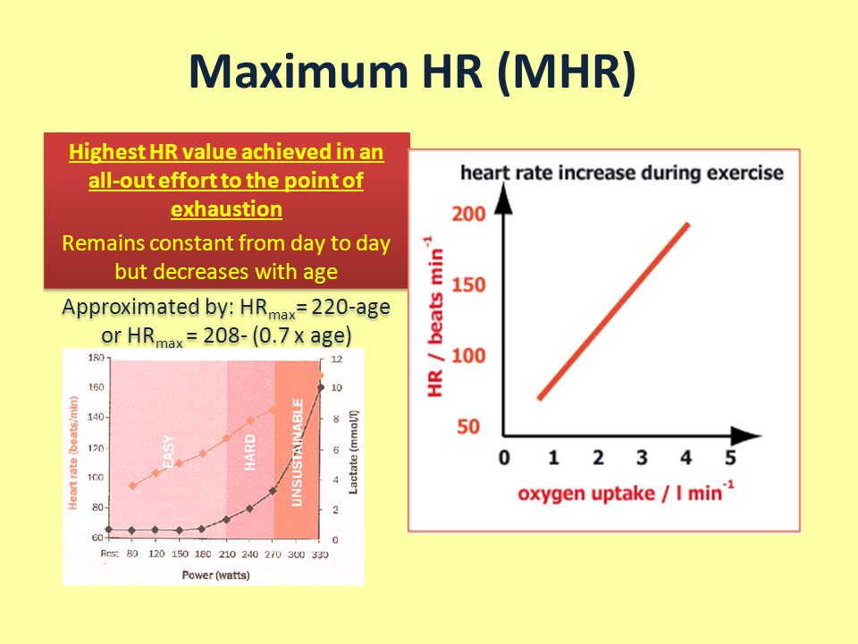 Maximum HR (MHR) Highest HR value achieved in an all-out effort to the point of exhaustion. Remains constant from day to day but decreases with age.