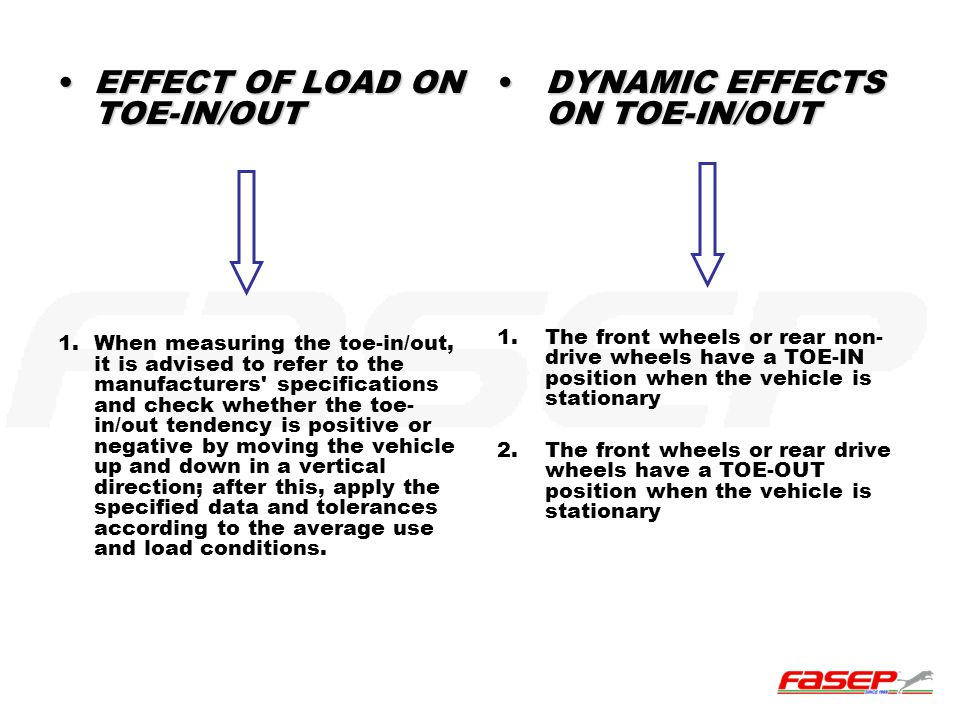 EFFECT OF LOAD ON TOE-IN/OUT DYNAMIC EFFECTS ON TOE-IN/OUT