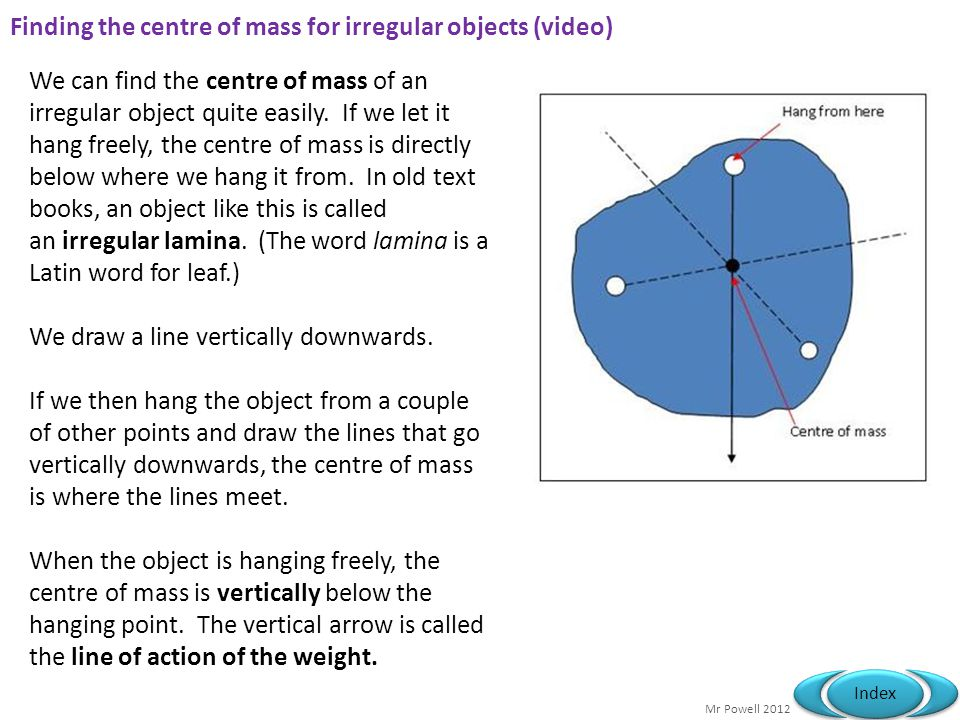 Finding the centre of mass for irregular objects (video)