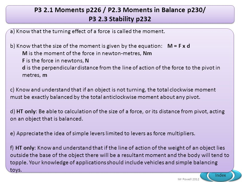 P3 2.1 Moments p226 / P2.3 Moments in Balance p230/