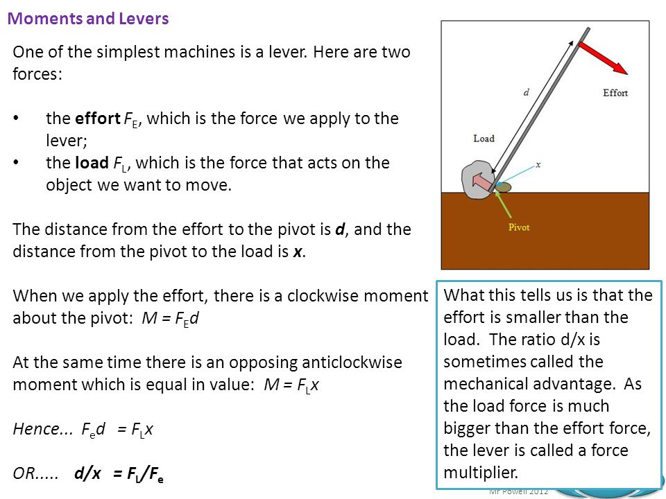 Moments and Levers One of the simplest machines is a lever. Here are two forces: the effort FE, which is the force we apply to the lever;